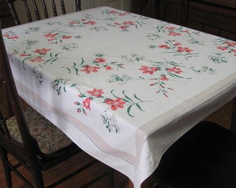 Vintage Salmon Floral Print Rectangle Tablecloth Cover Kitchen Dining