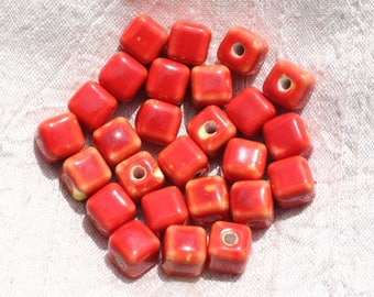 10pc - ceramic beads 10mm hole 3mm red 4558550009432 Cubes