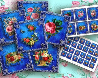 Blue Rose Printable square, Digital Collage Sheet,for magnets pendants greeting cards gift tags 9x9cm,4x4cm,3,5x3,3zoll,1,5x1,5zoll cabochon