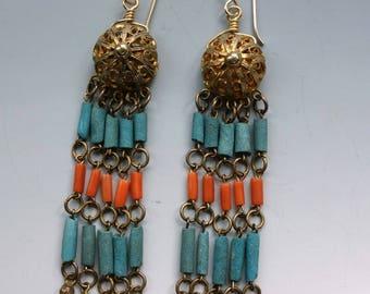 Egyptian Revival Coral Fringe Earrings