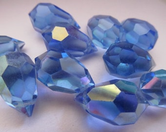 Vintage Glass Beads (2)(19x11mm) Beautiful Medium Sapphire Faceted Teardrop Dangles Beads (a little shabby Chic)