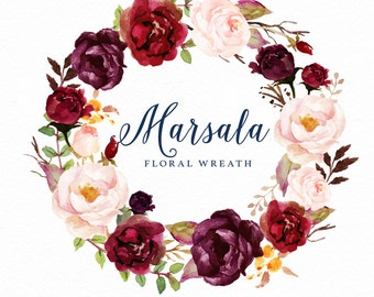 Watercolor floral wreath-Marsala/Individual PNG files/Hand Painted/Wedding design/Bohemian/Boho/Rustic