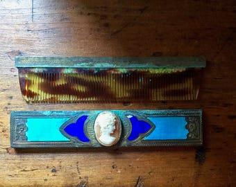 Antique Comb with Metal Handle and Case, Art Deco Comb, Cameo Enamel Comb, Tortoise Shell Comb, Art Nouveau Comb, Vanity Comb, Purse Comb