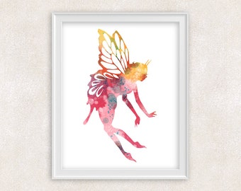 Fairy Art Print - Childrens Wall Art - Watercolor Print - Whimsical Fairy Art - Home Decor 8x10 PRINT - Item #726B