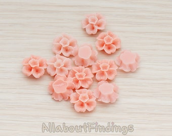 CBC138-PP // Pale Pink Colored Morning Glory Flower Flat Back Cabochon, 6 Pc