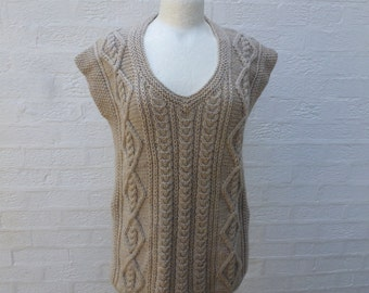 Womens tank top 90s clothing brown top chunky knit tank top cable handknit sleeveless jumper size 12 sweater chunky handmade vintage cable.