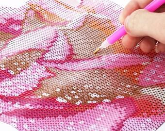Pink Rose Diamond Cross Stitch DIY Kit Rhinestone Mosaic Canvas Painting Home Wall Decor 30 x 30cm