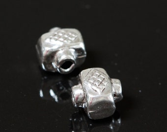 Sterling Silver Beads Bali Style with diamond design 7mm x 6mm - Select Pack Size