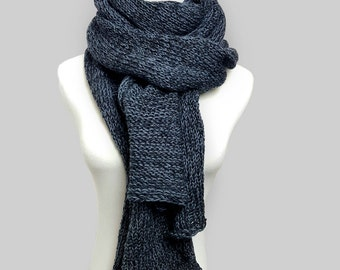 Grey winter scarf knit scarf, Grey scarf, Extra longs scarf, Gift for women scarf for women, Black scarf, Unique scarves for women,