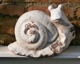 Pottery, White Glazed Snail - Studio Pottery - Vintage