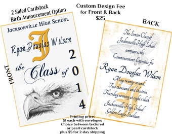 DiGiTaL FiLe - 2 Sided GRADUATION CARD with EAGLE and PICtures- PLeaSE Scroll DOwN and ReAd for For INstRuCtiOns on ordering/printing