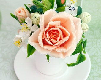 House warming gift - cup with pink rose, floral arrangement, table centerpiece, home decor