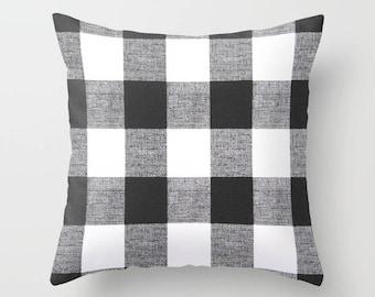 Black Pillow Cover Decorative Pillows Throw Pillows Buffalo Plaid Pillow 8 Sizes Available