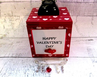 Customisable You're Just My Type Valentine Trinket/Gift/Jewellery Box with Customizable Initial Love Pin/Brooch