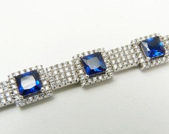 Sterling Silver Cubic Zirconia Bracelet Art Deco Style Bridal Wedding Jewelry