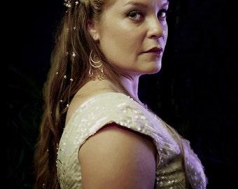 6 Rose Gold Swarovski® Crystal & Pearl Bridal Vines Boho Chic Bride Accessory Bohemian Renaissance Alternative Wedding Veil Hair Extensions