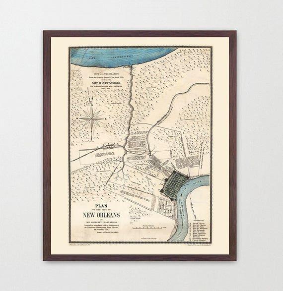 New Orleans Map - New Orleans Art - Louisiana Poster  - New Orleans Wall Art - New Orleans Poster - Vintage New Orleans - NOLA - NOLA Art
