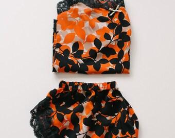 Elisa silk camisole & french knicker set