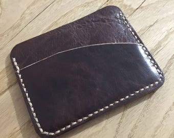 Shiny claret red leather cardholderfor men and women, Leather goods