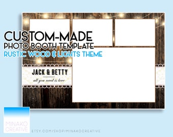 Custom Made Rustic Wood Panels and Lights Theme Elegant Wedding Photobooth Photo Booth Template