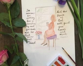 Scripture print , encouragement, inspirational art for women, philippians 4