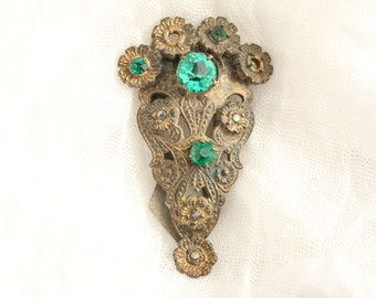 Vintage Fancy Metal Clip With Green Stones . Unsigned
