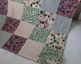 Floral Patchwork Baby Minky Blanket or Quilt (Plum/pink/green)