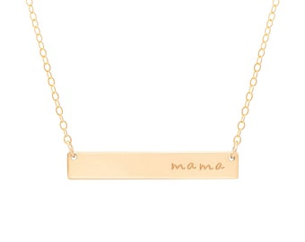 Gold Bar Mom Necklace / Gold Mama Necklace / Mother's Day Necklace / Mother's Day gift / New Mom Necklace