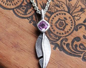 Feather necklace, pink sapphire necklace, silver boho necklace, bezel set necklace, oxidized silver necklace, boho feathers, ready to ship