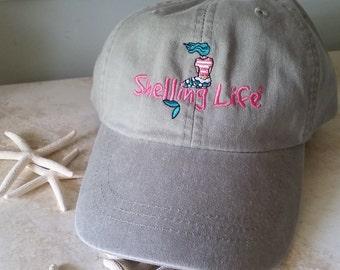 Beach Mermaid Hat - Embroidered Hat - Shelling Life® Mermaid