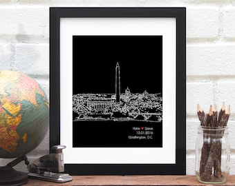 Washington DC Gift, skyline art, DC city skyline, Gay Couples Wedding Art, First Anniversary Gift, Engagement, Gifts for Him - 8x10 Print