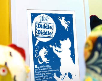 Hey Diddle Diddle - children's nursery rhyme digital print