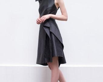 SALE 30% Off, Black White Dress, Black Party Dress, Ruffle Black Dress, Backless Dress, Polka Dot Dress, A-Line Dress, Open Back Dress