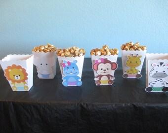 Jungle Animal Popcorn Boxes(20)Safari Baby Shower,Baby Animals,Safari Popcorn Boxes,Zoo Animals,Safari Jungle,Baby Jungle Theme