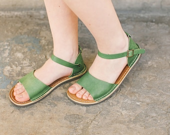 Ankle-Strap sandals, Strappy Sandals, Boho Sandals, Leather Sandals, Summer Shoes, Greenery Sandals, Summer Flats, closed toe sandals