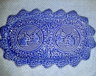 "Bordallo Pinheiro Blue Rabbits Sandwich Platter 8""x13"""