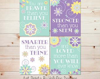 Girls room decor Purple Mint nursery art You are Braver Baby girl nursery art Purple girls room decor Toddler girl floral bedroom art#1575