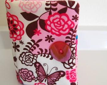 Tea Bag Wallet-Pink Posies Peacocks Butterflies, Pink Posy Peacocks Teabag Wallet, Posies Butterflies Teabag Holder, Bus Credit Card Holder