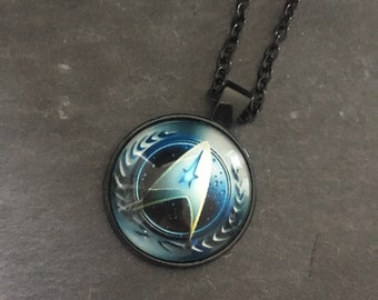 Star Trek Glass Dome Pendant Necklace in a black setting on a matching chain