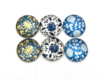 "6 cabochons round glass with blue floral images 20mm s1 ""7"""