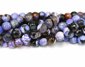 8mm Purple Agate Round Beads, Round Purple Agate Beads, 1 Strand, Round Beads, Natural Stone Beads, Faceted Agate Beads, Wholesale Beads