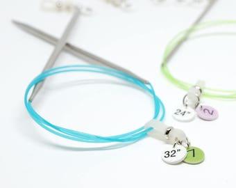 Größe-ID-Bänder für Rundstricknadeln oder Unterschrift Kabel (Satz von 2, 3, 4 oder 5)