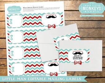 INSTANT DOWNLOAD Little Man Mustache Mailing Labels