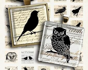 Printable images LITTLE EPHEMERA BIRDS 1x1 inch size Digital Collage Sheet for pendants, jewelry, magnets, vintage scrapbook paper ArtCult