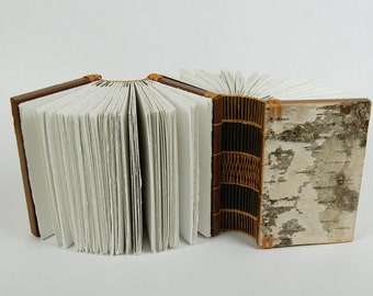 Dos-à-dos - double journal  twin book - rustic wood book - birch bark - woodland brown - unique gift - made to order