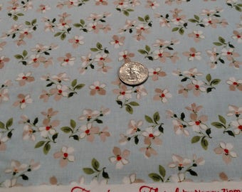Farmhouse Small Floral on Blue (C6884) by Nancy Zieman sold by the yard