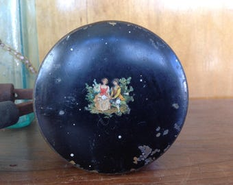 Antique Victorian Hand Painted Cosmetic Tin
