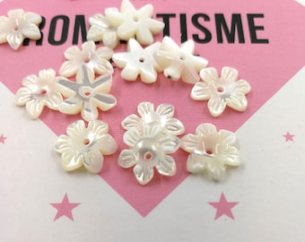 10pcs 10mm White Mother of Pearl Flower Beads White Shell Carved Flower Beads Cetre Drilled MOP Flowers 6-petal Flowers