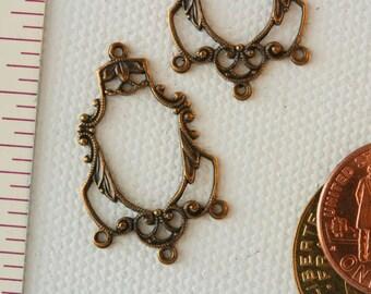 Vintage Filigree Chandelier Earring Pair. Brass earring component, vintage multistrand earring finding. Beadwork, Jewelry making, supply.