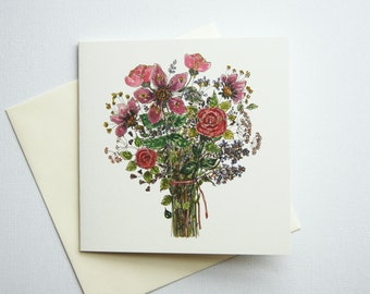 Floral Greeting Card, Floral Birthday Card, Watercolor Greeting Card, Floral Stationary, Flower Card, Botanical Greeting Card, Card floral